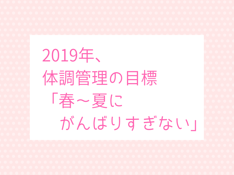 2019年体調管理の目標