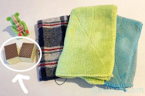 使った道具、ダイヤモンドパッドと雑巾